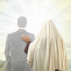 Jesus accompanies the soul to the Kingdom of Heaven