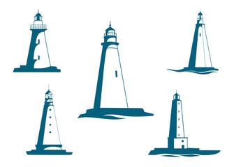 Lighthouse towers symbols for navigation