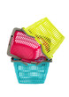 Pile of three colorful market baskets.Shopping baskets isolated.