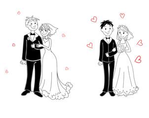 Doodle couple on wedding ceremony