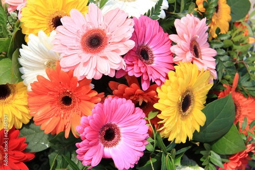 Gerberas in a colorful bridal bouquet