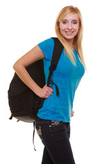 Portrait casual smiling girl student with bag backpack isolated