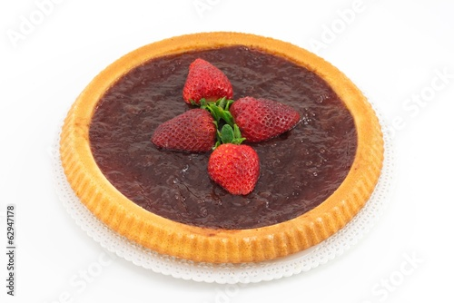 tart with strawberry jam