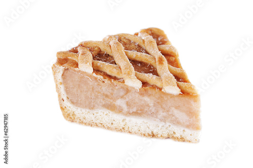 Piece of traditional apple pie isolated over white