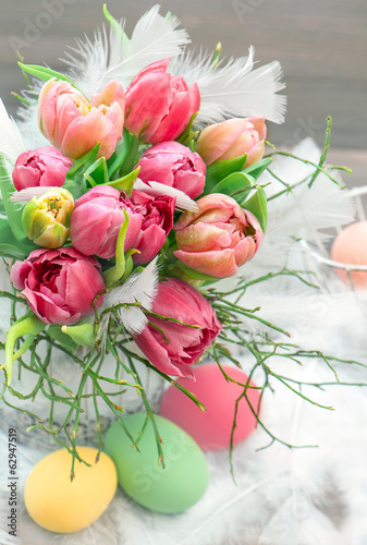 tulip flowers with water drops. vibrant colors