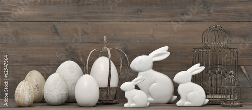 easter bunny and eggs. retro style decoration