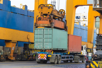 A big container vessel in a container seaport during transportat