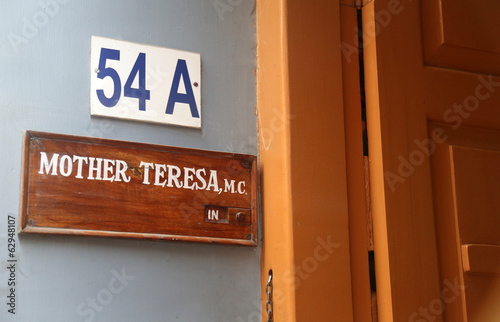 Entrance to Mother House of Mother Teresa in Kolkata - 62948107