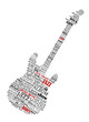Electric guitar shape composed of music text