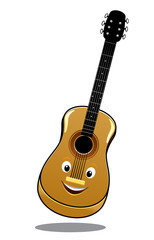 Cartoon wooden country guitar