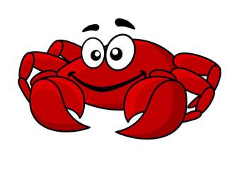 Fun smiling red cartoon crab