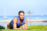 Plank core exercise - fitness man training