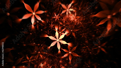 floral background, red flowers in  motion on black