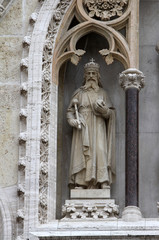 St. Stephen the king on the facade of the Zagreb Cathedral
