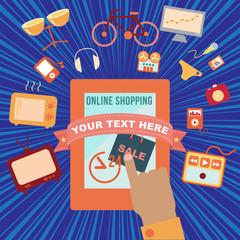 Online shopping, vector format
