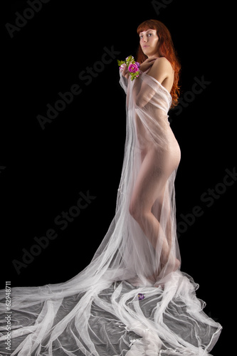 sensual girl with a transparent cloth