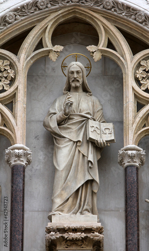 Christ the Teacher on the facade of the Zagreb cathedral