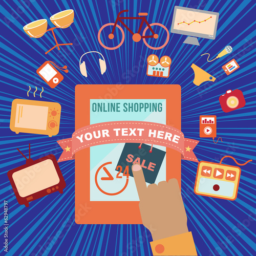 Online shopping, vector format