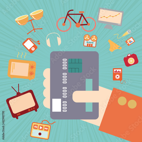 Hand with credit card for online shopping concept, vector format