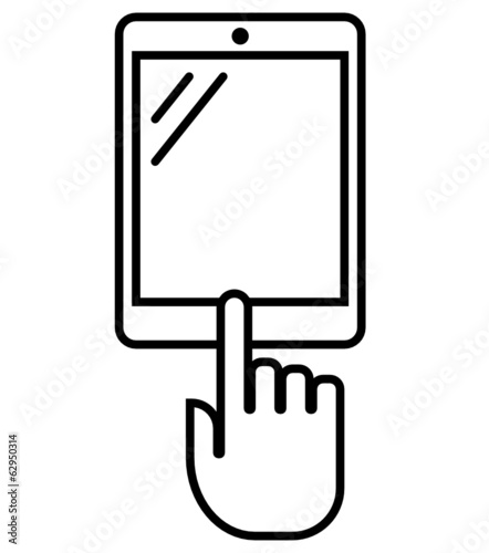 Vertical tablet PC with hand vector outline icon