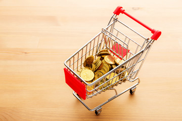 Trolley with golden coin