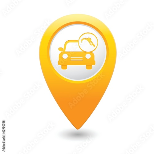 Car service. Car with gas station icon on map pointer