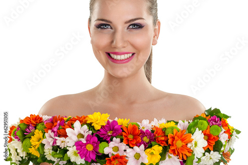 Woman in dress of flower