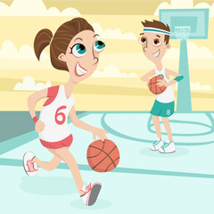 Cute Couple Play Basketball