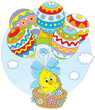 Easter chicken flying in a basket with balloons