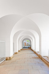 corridor with a ceiling in the form of arches in white