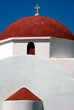 Orthodox church cupola  in Mykonos with red cupola