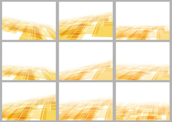 Orange tile perspective backgrounds collection