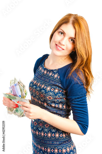 beautiful girl holding paper money