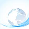 Globe over blue swoosh lines
