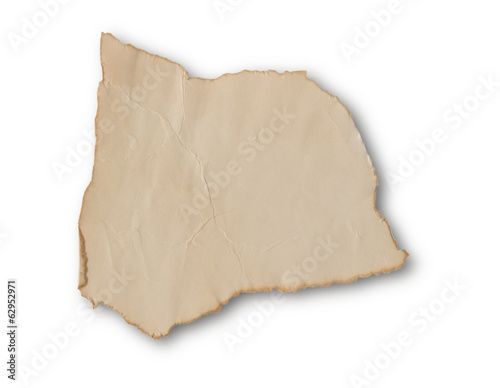 Recycle brown paper isolated on white with path