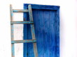 Blue Ladder and Blue Wooden Door in Mykonos