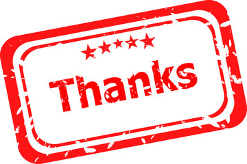Stylized red stamp showing the term thanks