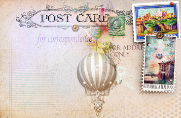 Postcard vintage with balloon