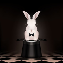 Bunny rabbit in magic hat - Chess floor