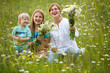 Family in meadow