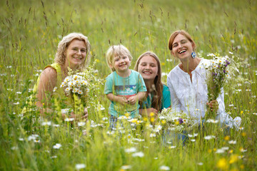Family in meadow