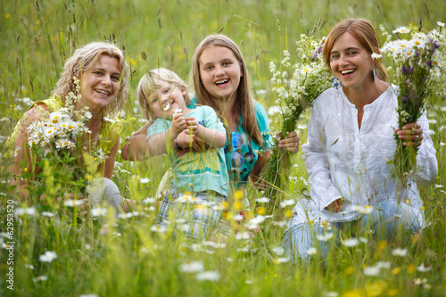 canvas print picture Family in meadow