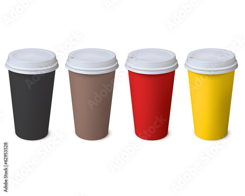 Paper Cup. Set. Vector illustration