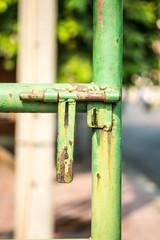 rusty old green door