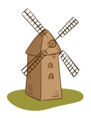 vector rural mill - illustration