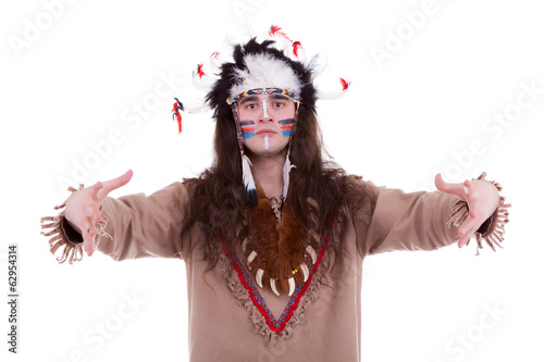 Native american chief isolated on white background