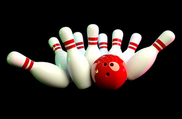 Photo-realistic image of bowling scene with black background