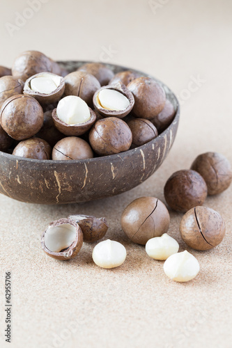 Macadamia nuts in coconut bowl