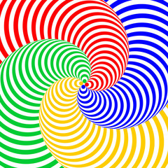 Design colorful swirl circular movement illusion background. Abs