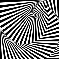 Design monochrome vortex movement illusion background. Abstract